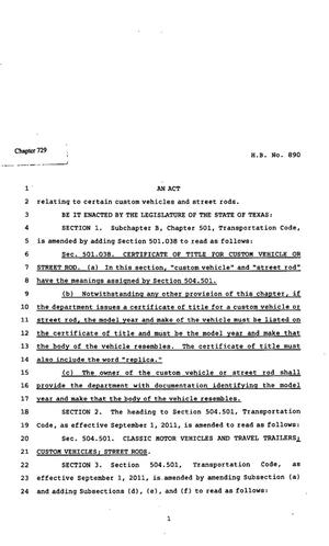 Primary view of object titled '82nd Texas Legislature, Regular Session, House Bill 890, Chapter 729'.