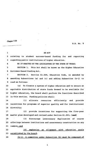 82nd Texas Legislature, Regular Session, House Bill 9, Chapter 1120