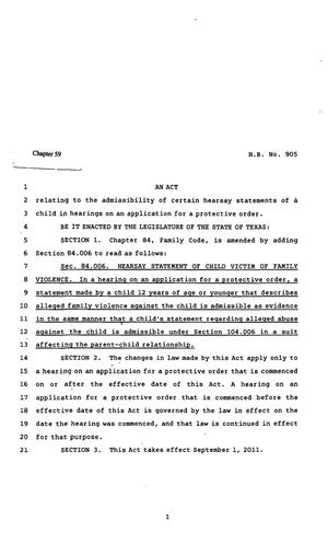 Primary view of object titled '82nd Texas Legislature, Regular Session, House Bill 905, Chapter 59'.