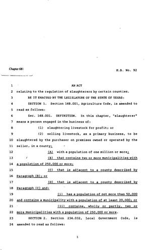 Primary view of object titled '82nd Texas Legislature, Regular Session, House Bill 92, Chapter 681'.