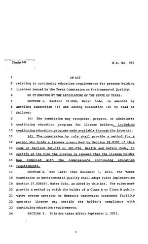 Primary view of object titled '82nd Texas Legislature, Regular Session, House Bill 965, Chapter 149'.