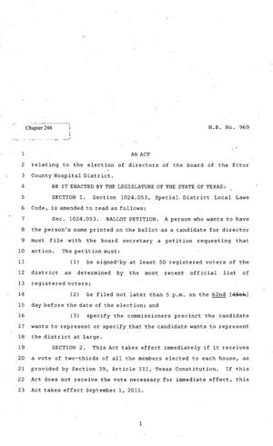 Primary view of object titled '82nd Texas Legislature, Regular Session, House Bill 969, Chapter 246'.