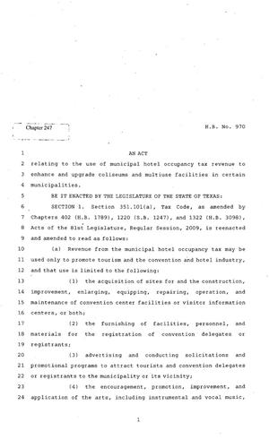 Primary view of object titled '82nd Texas Legislature, Regular Session, House Bill 970, Chapter 247'.