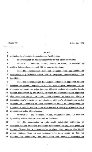 Primary view of object titled '82nd Texas Legislature, Regular Session, House Bill 971, Chapter 949'.