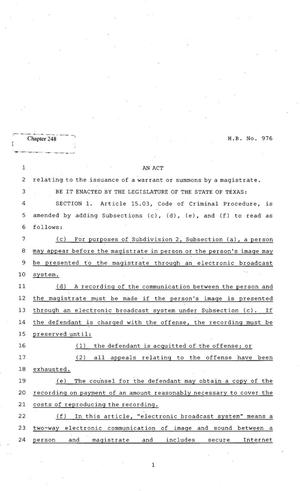 Primary view of object titled '82nd Texas Legislature, Regular Session, House Bill 976, Chapter 248'.