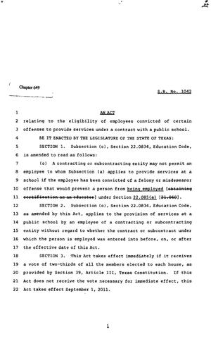 Primary view of object titled '82nd Texas Legislature, Regular Session, Senate Bill 1042, Chapter 649'.