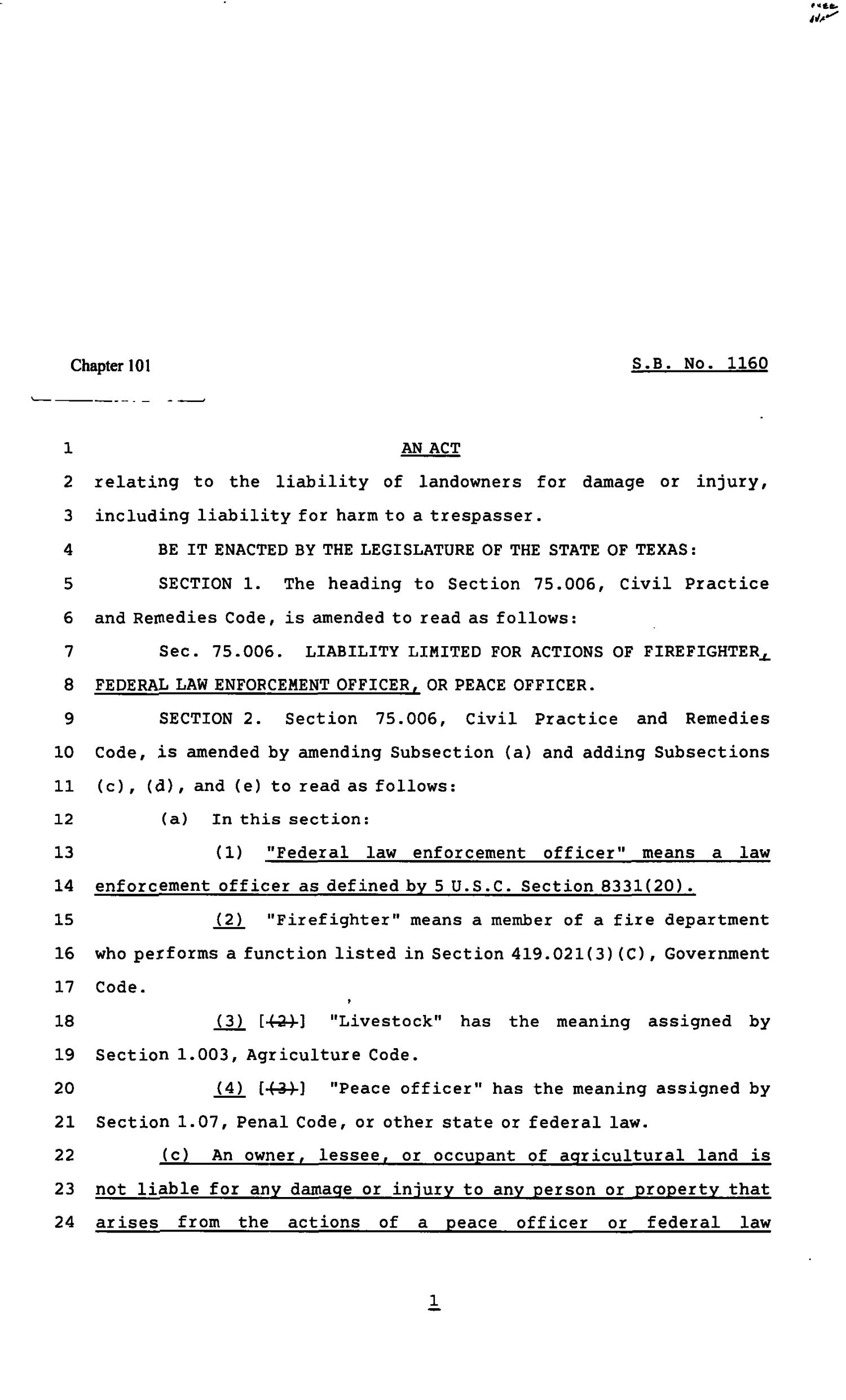 82nd Texas Legislature, Regular Session, Senate Bill 1160, Chapter 101                                                                                                      [Sequence #]: 1 of 5