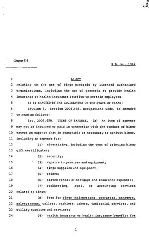 82nd Texas Legislature, Regular Session, Senate Bill 1342, Chapter 916