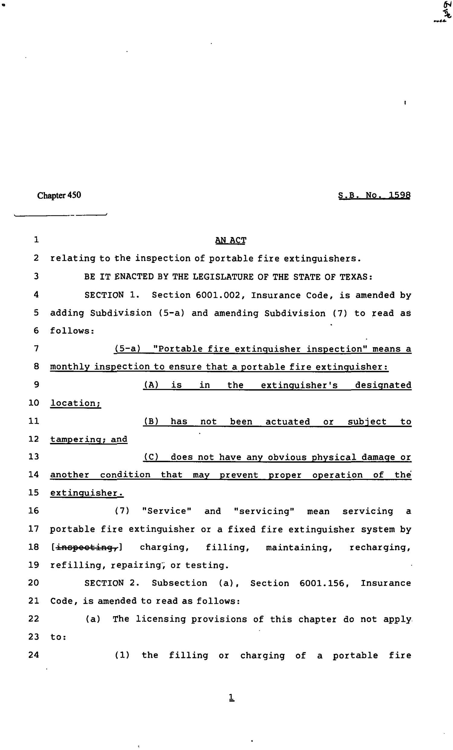 82nd Texas Legislature, Regular Session, Senate Bill 1598