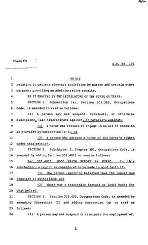 82nd Texas Legislature, Regular Session, Senate Bill 192, Chapter 877