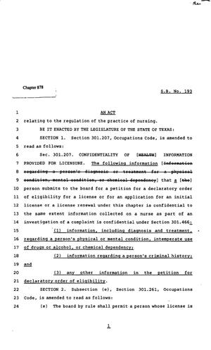 Primary view of object titled '82nd Texas Legislature, Regular Session, Senate Bill 193, Chapter 878'.