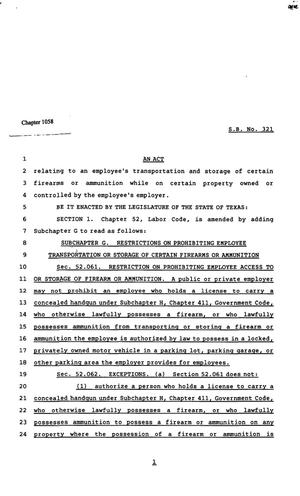 Primary view of object titled '82nd Texas Legislature, Regular Session, Senate Bill 321, Chapter 1058'.