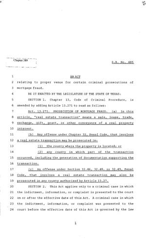 Primary view of object titled '82nd Texas Legislature, Regular Session, Senate Bill 485, Chapter 389'.