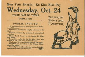 Primary view of object titled '[Flyer for Ku Klux Klan Day]'.