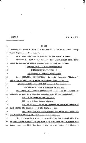 Primary view of object titled '82nd Texas Legislature, Regular Session, Senate Bill 832, Chapter 19'.