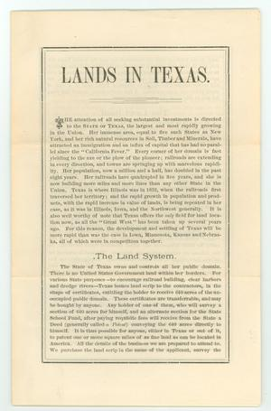 Primary view of object titled 'Lands in Texas.'.