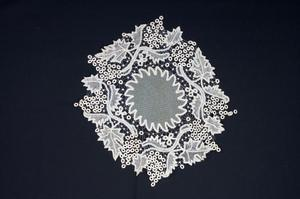 Primary view of object titled 'Battenberg lace doily'.