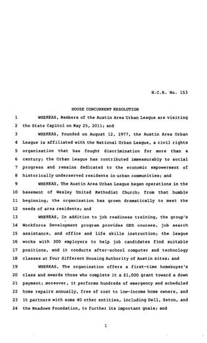 82nd Texas Legislature, Regular Session, House Concurrent Resolution 153