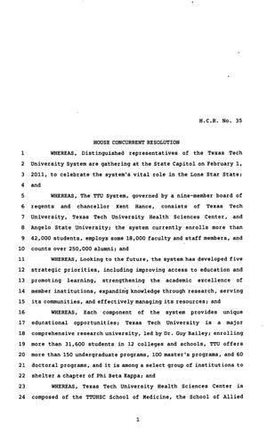 Primary view of object titled '82nd Texas Legislature, Regular Session, House Concurrent Resolution 35'.
