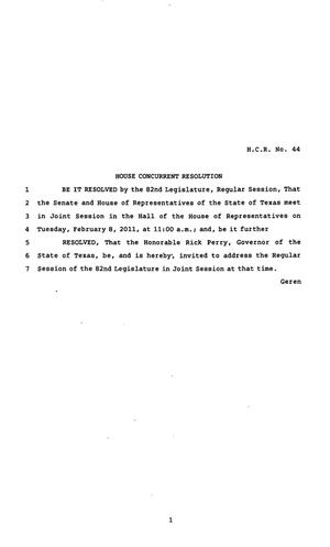 Primary view of object titled '82nd Texas Legislature, Regular Session, House Concurrent Resolution 44'.