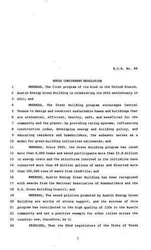 Primary view of object titled '82nd Texas Legislature, Regular Session, House Concurrent Resolution 49'.