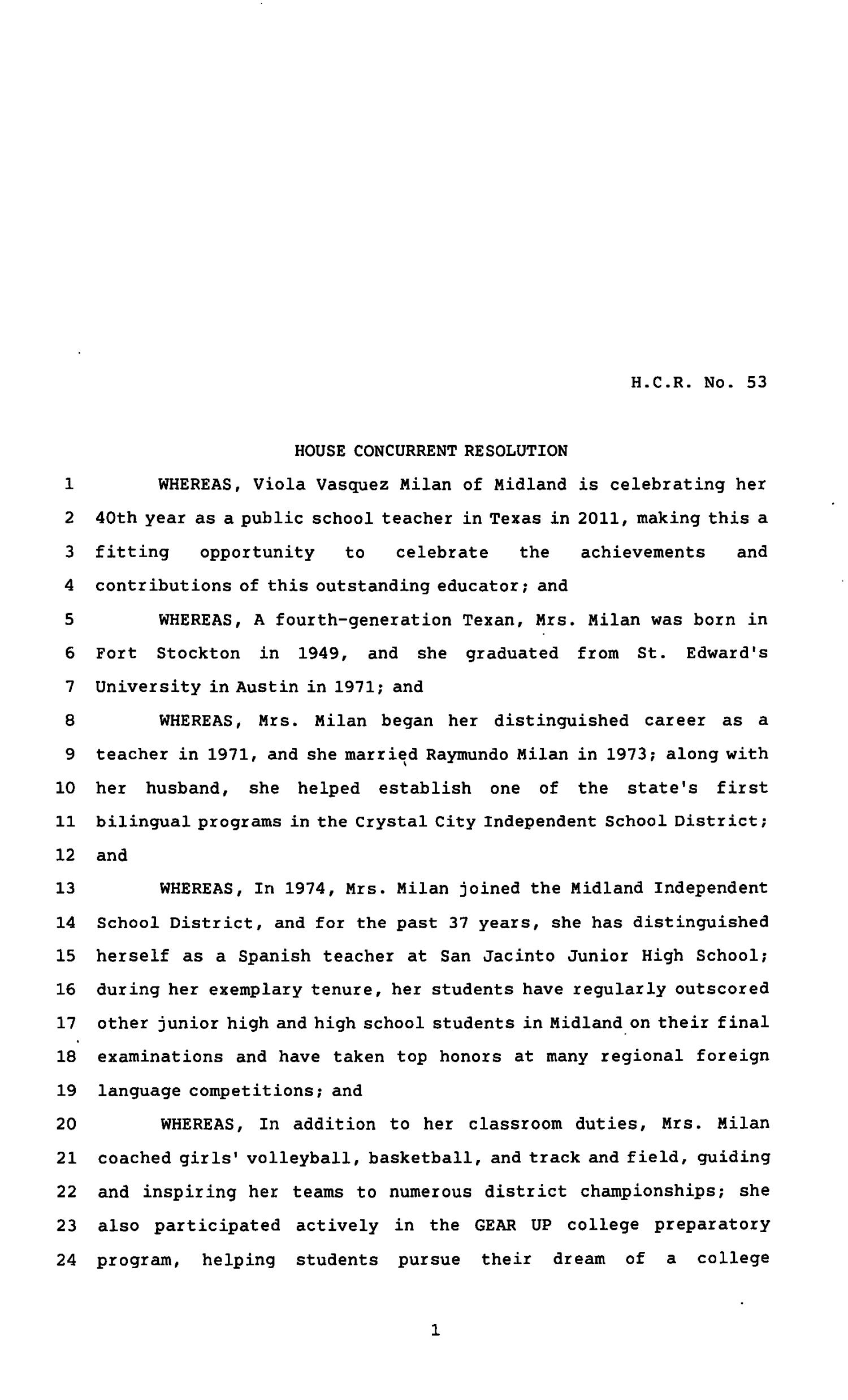 82nd Texas Legislature, Regular Session, House Concurrent Resolution 53                                                                                                      [Sequence #]: 1 of 3