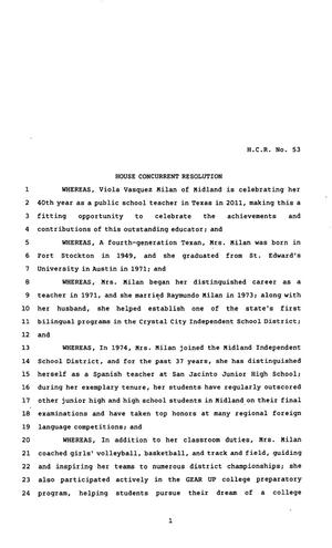 Primary view of object titled '82nd Texas Legislature, Regular Session, House Concurrent Resolution 53'.