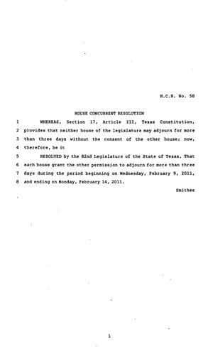 Primary view of object titled '82nd Texas Legislature, Regular Session, House Concurrent Resolution 58'.