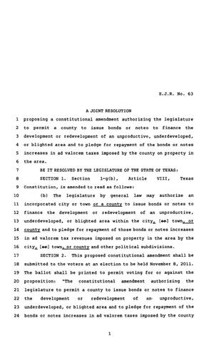 Primary view of object titled '82nd Texas Legislature, Regular Session, House Joint Resolution 63'.