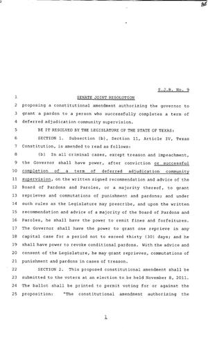 Primary view of object titled '82nd Texas Legislature, Regular Session, Senate Joint Resolution 9'.