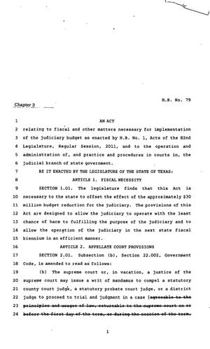 Primary view of object titled '82nd Texas Legislature, First Called Session, House Bill 79, Chapter 3'.