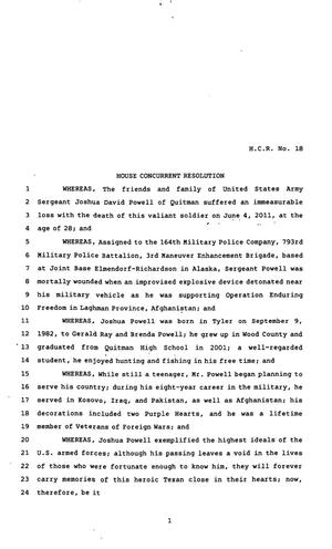 82nd Texas Legislature, First Called Session, House Concurrent Resolution 18