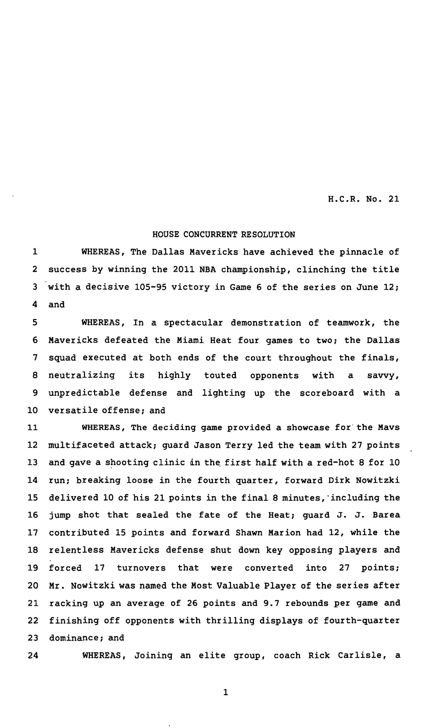 82nd Texas Legislature, First Called Session, House Concurrent Resolution 21                                                                                                      [Sequence #]: 1 of 4