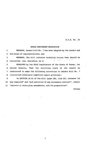 Primary view of object titled '82nd Texas Legislature, First Called Session, House Concurrent Resolution 25'.