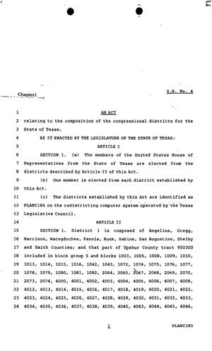 Primary view of object titled '82nd Texas Legislature, First Called Session, Senate Bill 4, Chapter 1'.