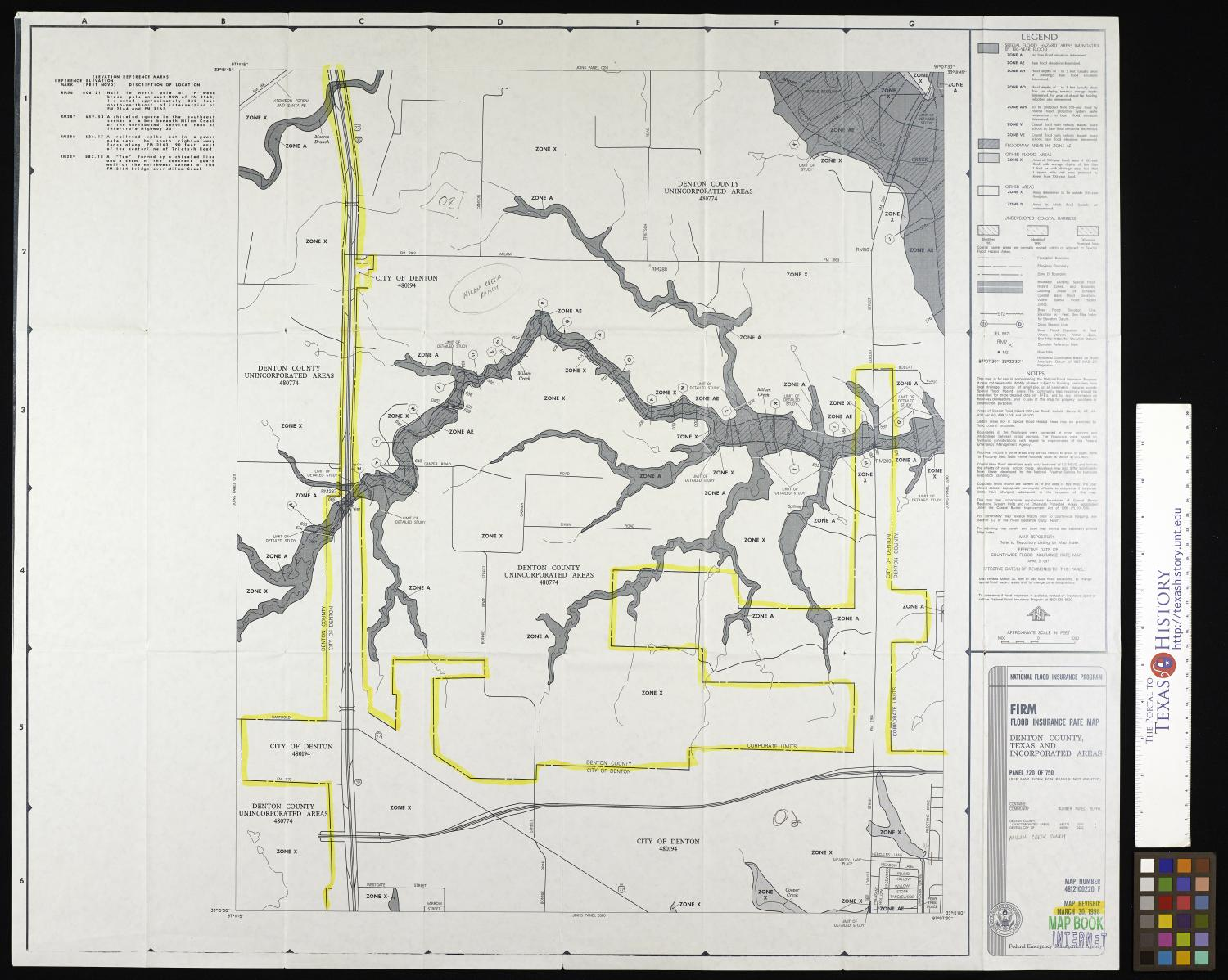 Flood Insurance Rate Map: Denton County, Texas and Incorporated Areas, Panel 220 of 750.                                                                                                      [Sequence #]: 1 of 2