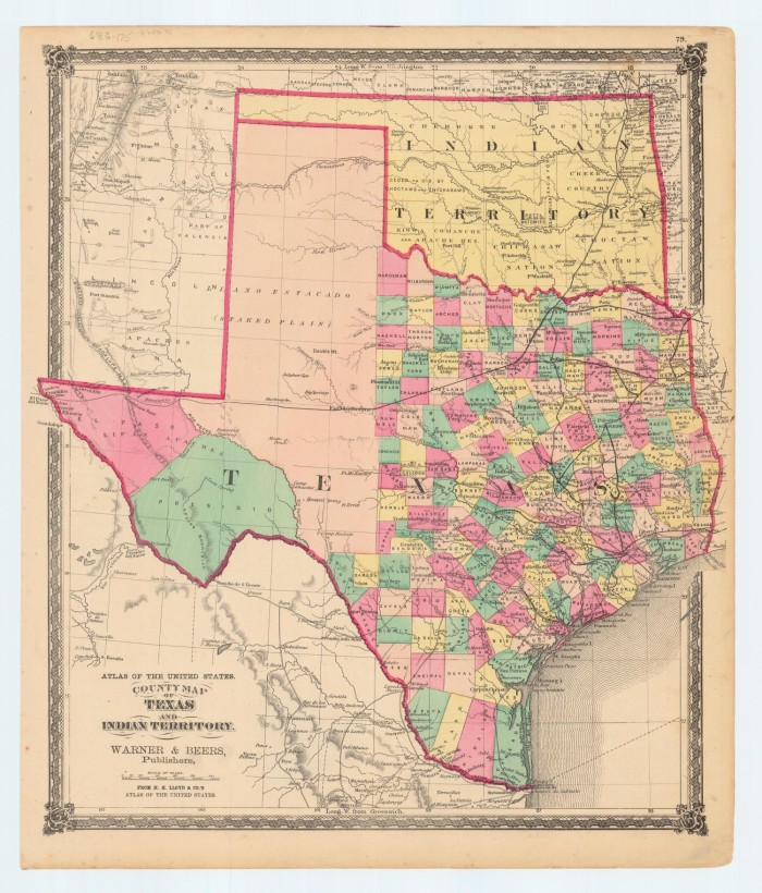 County Map Of Texas And Indian Territory The Portal To Texas - Us map of indian territories