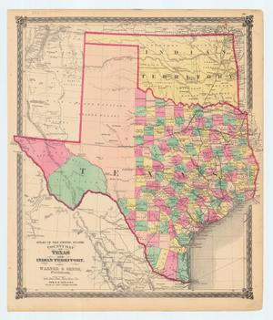 "Primary view of object titled '""County Map of Texas and Indian Territory""'."