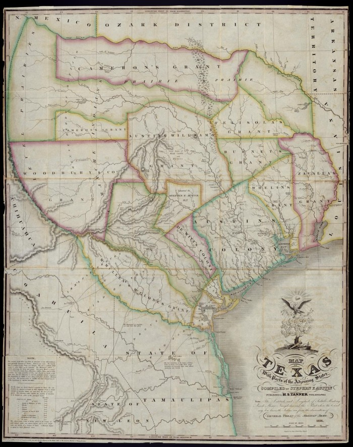 Austin On Map Of Texas.Map Of Texas With Parts Of The Adjoining States Compiled By Stephen