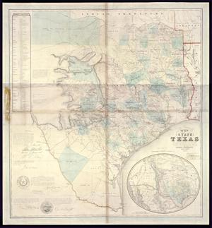 "Primary view of object titled '""J. de Cordova's Map of the State of Texas Compiled from the records of the General Land Office of the State, by Robert Creuzbaur, Houston.""'."