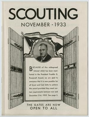 Primary view of object titled 'Scouting, Volume 21, Number 10, November 1933'.