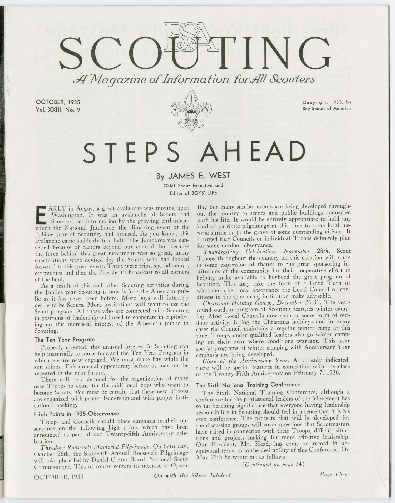 Scouting, Volume 23, Number 9, October 1935                                                                                                      3