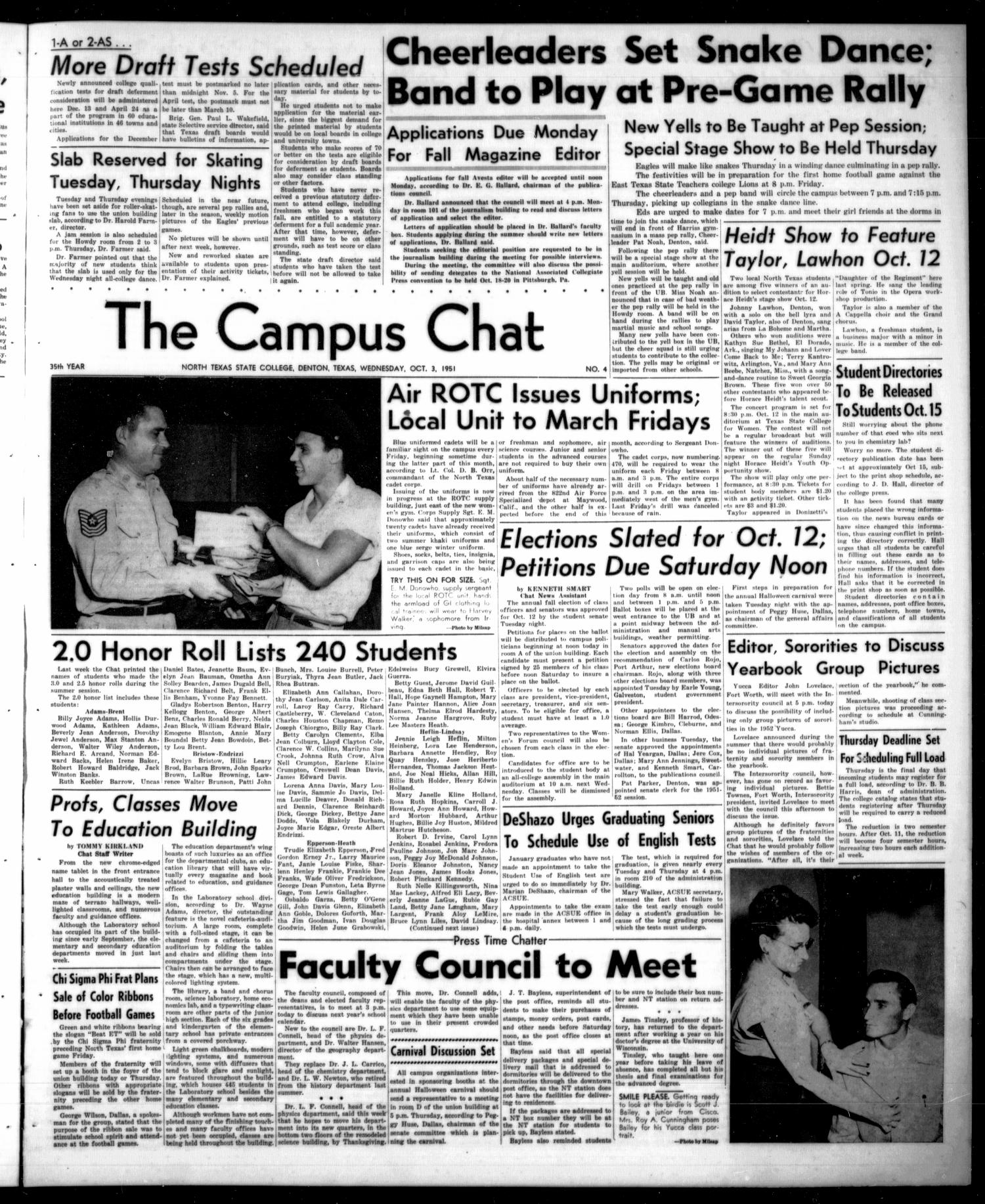 The Campus Chat (Denton, Tex.), Vol. 35, No. 4, Ed. 1 Wednesday, October 3, 1951                                                                                                      [Sequence #]: 1 of 4