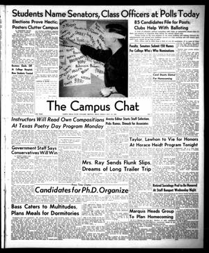 Primary view of object titled 'The Campus Chat (Denton, Tex.), Vol. 35, No. 7, Ed. 1 Friday, October 12, 1951'.