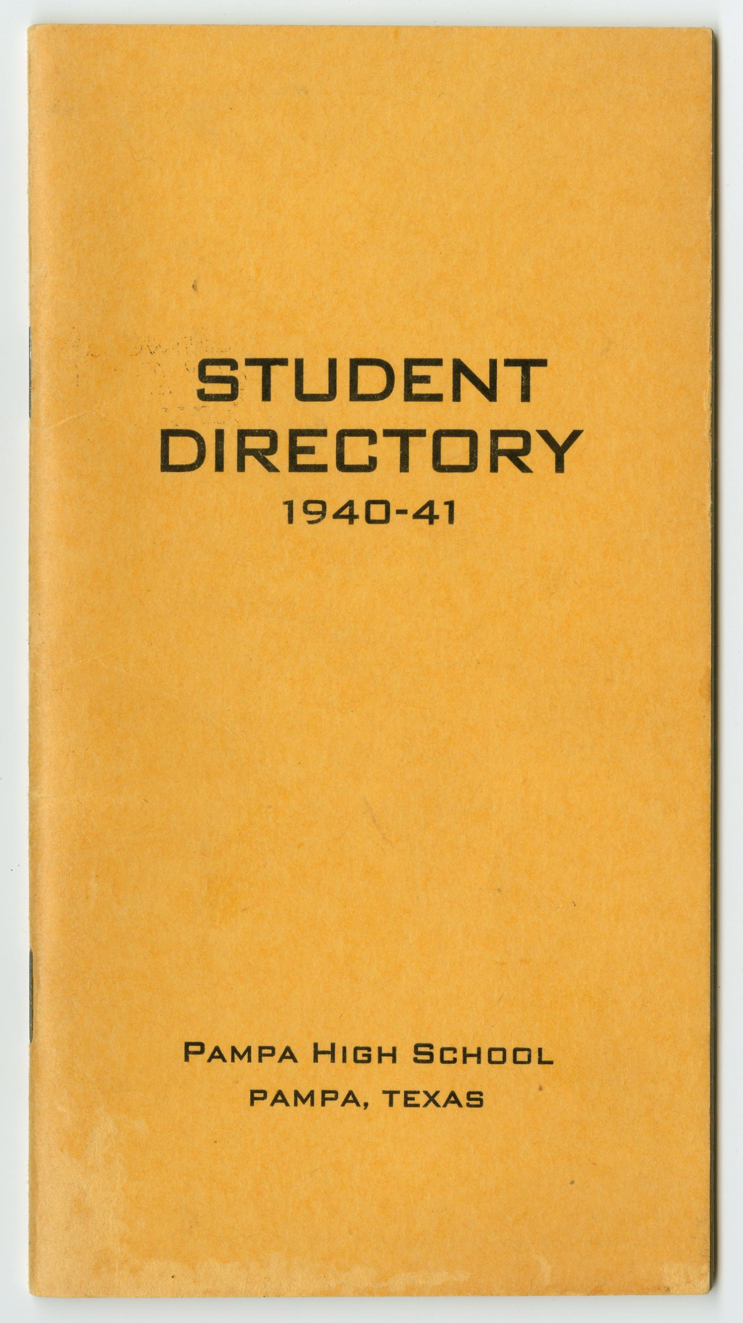[Pampa High School Student Directory, 1940-1941]                                                                                                      Front Cover