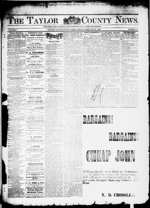 Primary view of object titled 'The Taylor County News. (Abilene, Tex.), Vol. 1, No. 48, Ed. 1 Friday, February 12, 1886'.