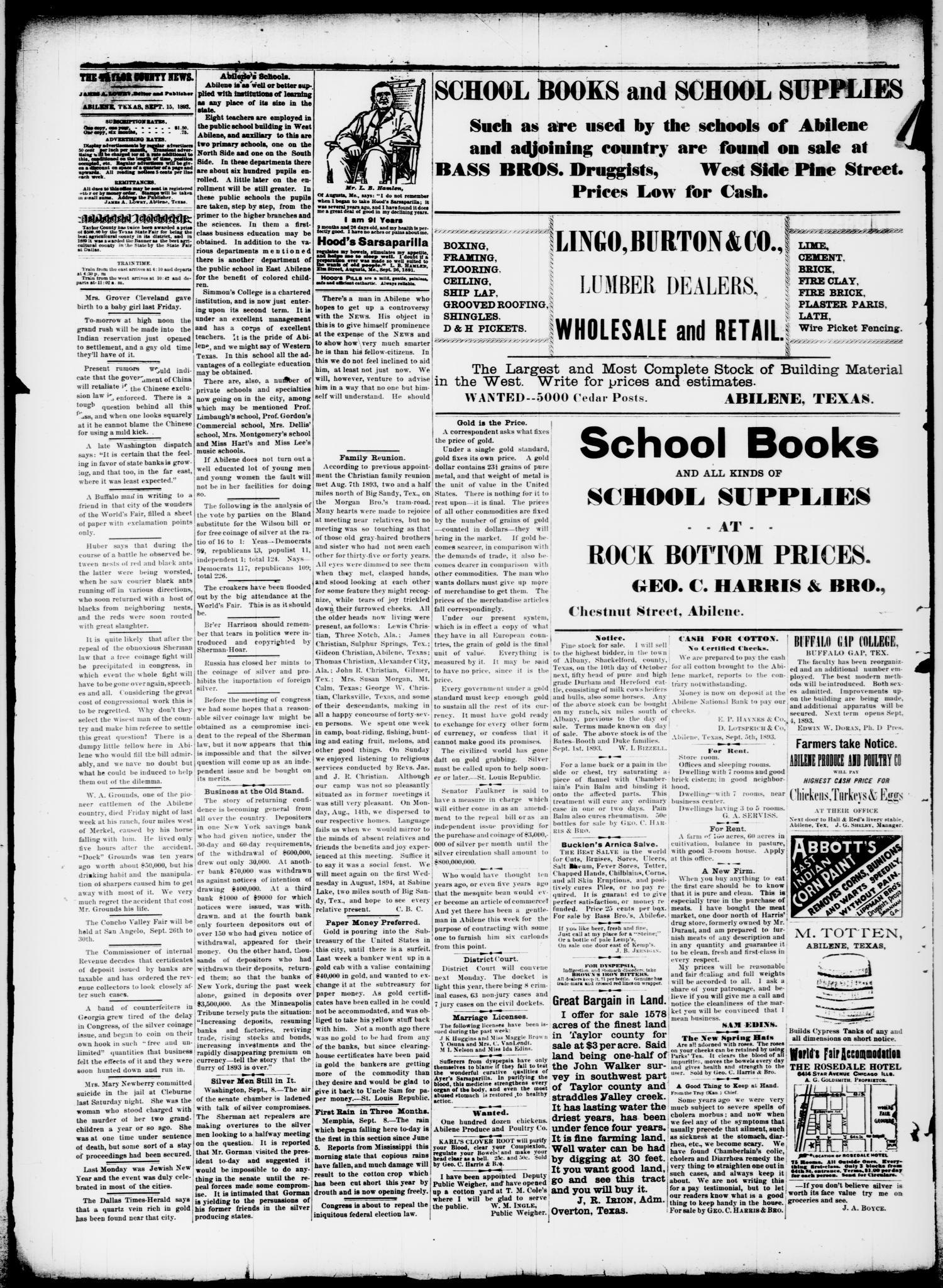 The Taylor County News  (Abilene, Tex ), Vol  9, No  30, Ed