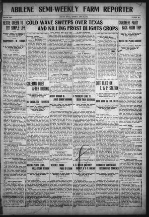 Primary view of object titled 'Abilene Semi-Weekly Farm Reporter (Abilene, Tex.), Vol. 30, No. 40, Ed. 1 Tuesday, April 26, 1910'.