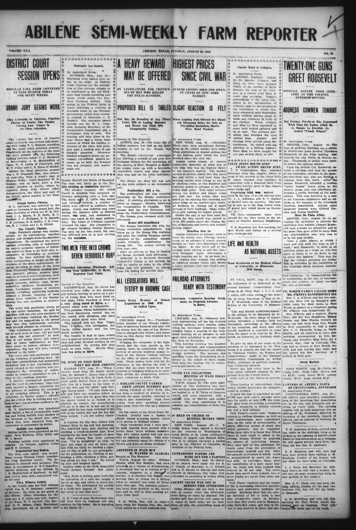 Abilene Semi-Weekly Farm Reporter (Abilene, Tex.), Vol. 30, No. 76, Ed. 1 Tuesday, August 30, 1910                                                                                                      [Sequence #]: 1 of 8