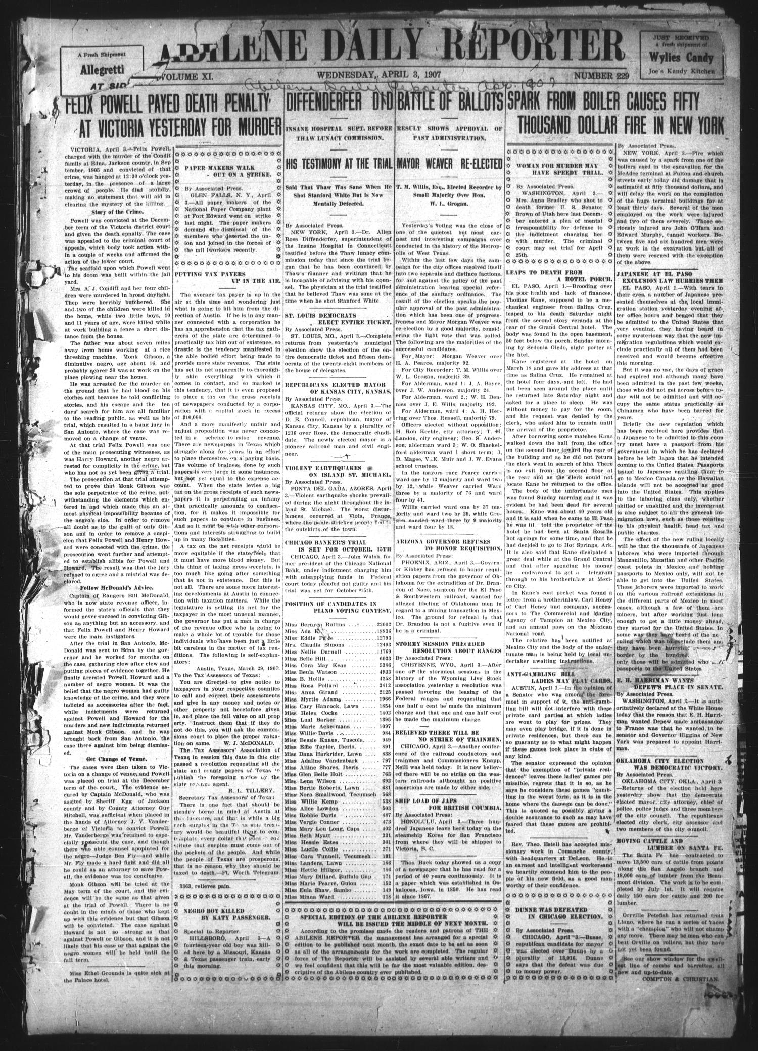 Abilene Daily Reporter (Abilene, Tex.), Vol. 11, No. 229, Ed. 1 Wednesday, April 3, 1907                                                                                                      [Sequence #]: 1 of 8